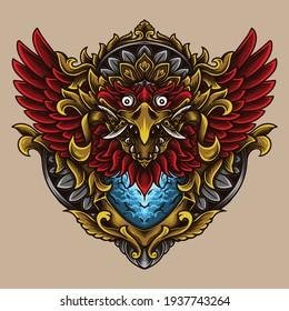 artwork illustration and t-shirt design garuda engraving ornament