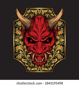 artwork illustration and t-shirt design oni mask engraving ornament premium vector