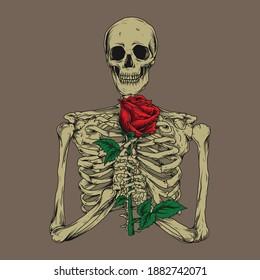 artwork illustration and t-shirt design skeleton with rose premium vector