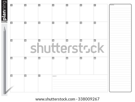 Artwork Template Design Monthly Planning Table Stock Vector Royalty