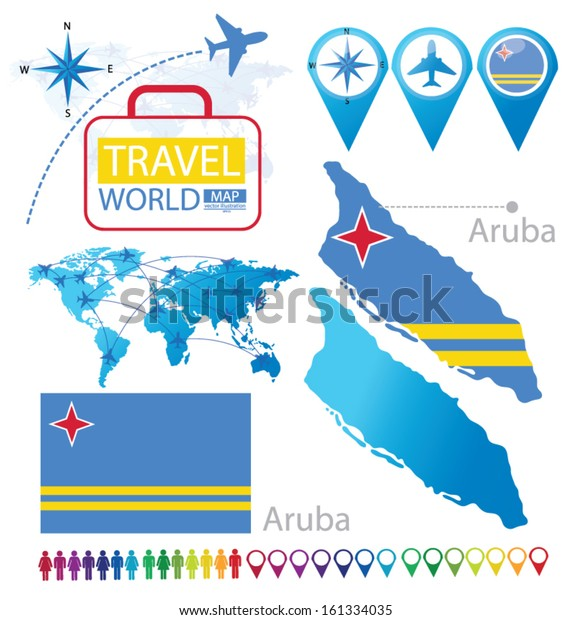 Aruba Flag World Map Travel Vector Stock Image | Download Now
