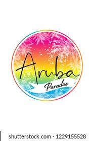 aruba happy island beach caribbean blend colorful distressed