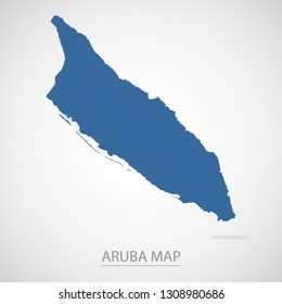 Aruba map. Blue Aruba map and Country name . Vector map on gray background.