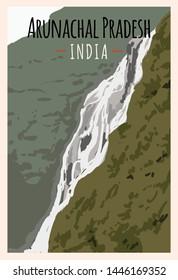Arunachal Pradesh retro poster. Arunachal Pradesh travel illustration. States of India greeting card. Jung Falls.