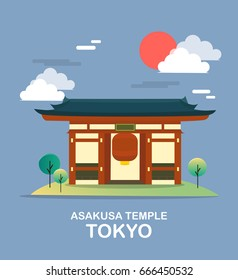 Asakusa temple ancient place in Tokyo illustration design