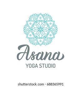 Asana. Yoga studio logo with mandala isolated on white background. Hand lettering elements. Vector illustration.