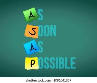 ASAP (As Soon As Possible) acronym on colorful sticky notes. Vector illustration