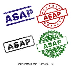 ASAP seal prints with corroded texture. Black, green,red,blue vector rubber prints of ASAP tag with corroded texture. Rubber seals with circle, rectangle, medal shapes.