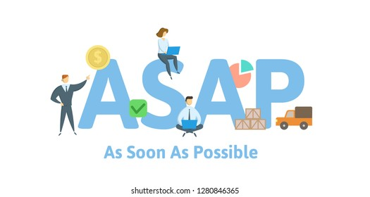 ASAP, as soon as possible. Concept with keywords, letters and icons. Colored flat vector illustration. Isolated on white background.