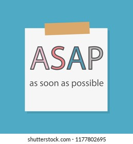 ASAP As Soon As Possible written in a notebook paper- vector illustration
