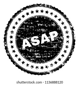 ASAP stamp seal watermark with distress style. Black vector rubber print of ASAP caption with dust texture. Rubber seal imitation has round shape and contains stars.
