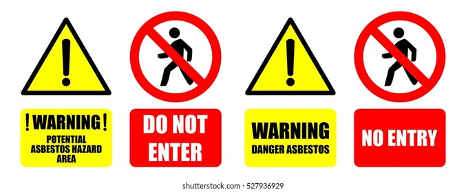 Asbestos Warning Sign Do Not Enter Vector