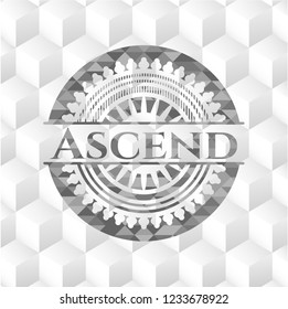 Ascend grey emblem with geometric cube white background