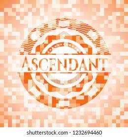 Ascendant abstract orange mosaic emblem with background