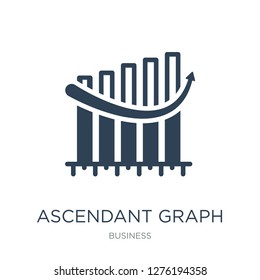 ascendant graph icon vector on white background, ascendant graph trendy filled icons from Business collection, ascendant graph vector illustration