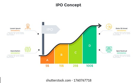 Ascending arrow chart and 4 colorful rectangular elements. Concept of four steps to IPO or stock market launch, company growth. Simple infographic design template. Modern flat vector illustration.
