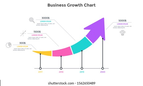 Ascending arrow chart divided into 4 parts. Concept of annual growth of company's financial profit. Simple infographic design template. Modern flat vector illustration for banner, presentation.