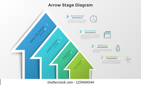 Ascending bar chart with 4 colorful arrow-like elements. Stage diagram. Modern infographic design template. Vector illustration for business growth and progressive development process visualization.