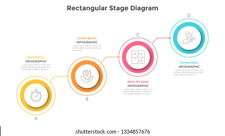 Ascending chart with 4 connected colorful round elements. Concept of four steps of progressive business development. Minimal infographic design template. Flat vector illustration for presentation.