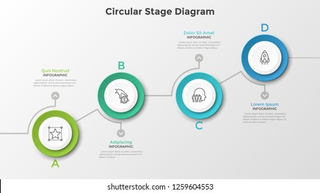 Ascending chart with 4 round paper white elements. Circular stage digram. Modern infographic design template. Vector illustration for business growth and progressive development visualization.