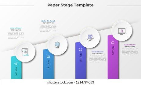 Ascending chart with four colorful rectangles, thin line icons in paper white circles and place for text. Concept of 4 steps of business progress. Infographic design template. Vector illustration.