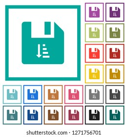 Ascending file sort flat color icons with quadrant frames on white background