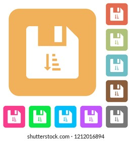 Ascending file sort flat icons on rounded square vivid color backgrounds.