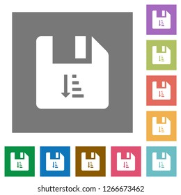 Ascending file sort flat icons on simple color square backgrounds