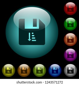 Ascending file sort icons in color illuminated spherical glass buttons on black background. Can be used to black or dark templates