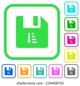 Ascending file sort vivid colored flat icons in curved borders on white background