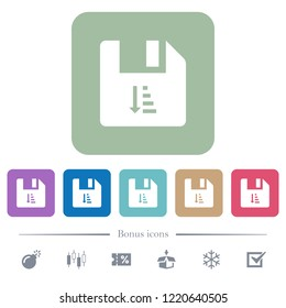 Ascending file sort white flat icons on color rounded square backgrounds. 6 bonus icons included