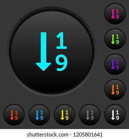 Ascending numbered list dark push buttons with vivid color icons on dark grey background