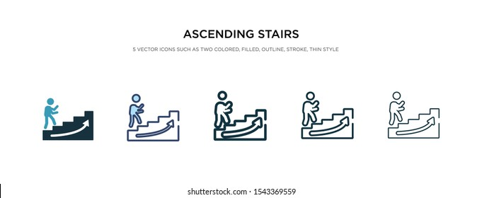 ascending stairs icon in different style vector illustration. two colored and black ascending stairs vector icons designed in filled, outline, line and stroke style can be used for web, mobile, ui