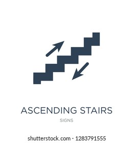 ascending stairs icon vector on white background, ascending stairs trendy filled icons from Signs collection, ascending stairs vector illustration