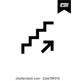 Ascending stairs increase with arrows going up symbol Vector illustration mobile application. Simple flat modern design style. Black color.