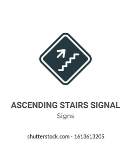 Ascending stairs signal glyph icon vector on white background. Flat vector ascending stairs signal icon symbol sign from modern signs collection for mobile concept and web apps design.