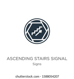Ascending stairs signal icon vector. Trendy flat ascending stairs signal icon from signs collection isolated on white background. Vector illustration can be used for web and mobile graphic design,