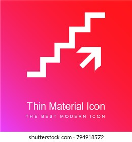Ascending stairs signal red and pink gradient material white icon minimal design
