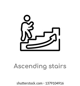 ascending stairs vector line icon. Simple element illustration. ascending stairs outline icon from signs concept. Can be used for web and mobile