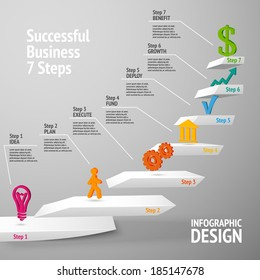 Ascending upward staircase successful business seven steps concept infographic vector illustration