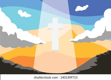 Ascension Day Illustration, Cross, Sky Vector Background for Church Event