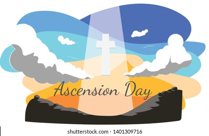 Ascension Day Illustration, Cross, Sky Vector with Text for Church Event