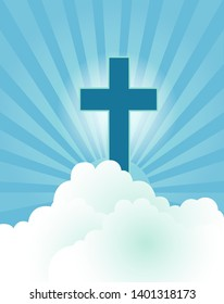 Ascension day vector illustration, Christian cross into the sky.