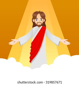 Ascension of Jesus Christ with arm wide open, vector illustration