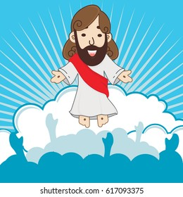 The Ascension of Jesus Christ With Blue Background Vector