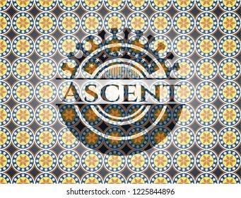 Ascent arabesque style badge. arabic decoration.