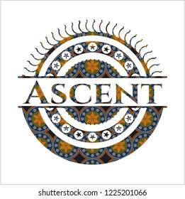 Ascent arabesque style emblem. arabic decoration.