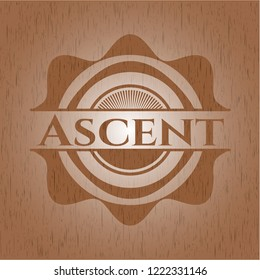 Ascent badge with wood background