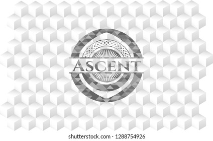 Ascent grey emblem. Vintage with geometric cube white background