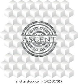Ascent grey emblem. Vintage with geometric cube white background